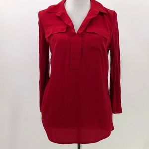 😍  kensie mixed material red blouse popover sz M
